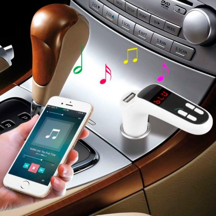 Resultado de imagen para Transmisor Receptor Bluetooth G7 Fm Llamada Música Autos