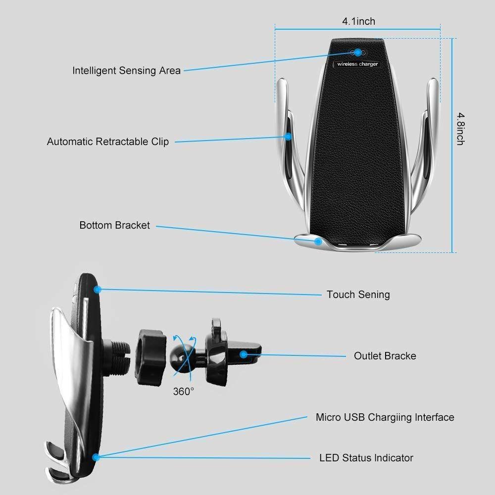 Soporte de celular para auto con carga inalámbrica